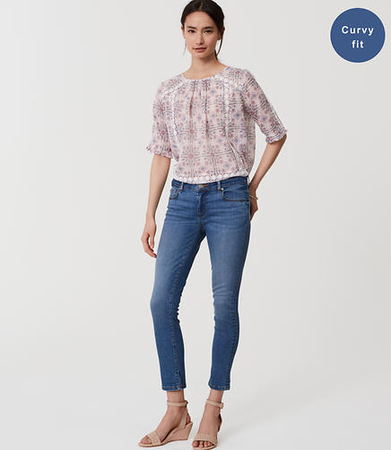 Image of Curvy Skinny Crop Jeans in Bright Mid Indigo Wash