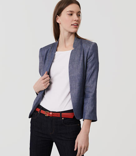 Image of Petite Chambray Notched Blazer