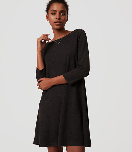 Image of Petite Boatneck Swing Dress
