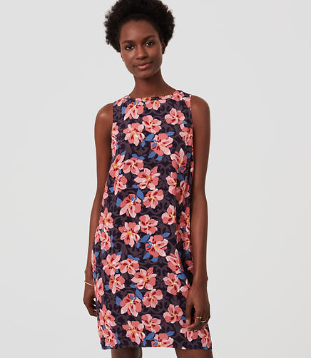 Image of Petite Hibiscus Shift Dress