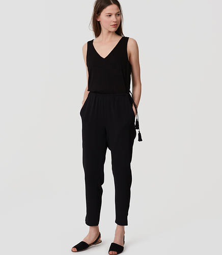 Image of Petite Tasseled Mixed Media Jumpsuit