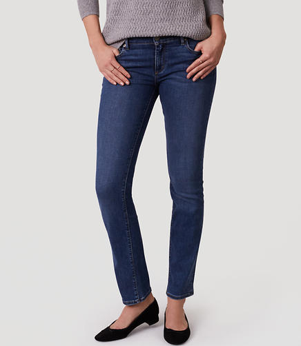 Image of Petite Curvy Straight Leg Jeans in Rich Mid Indigo Wash