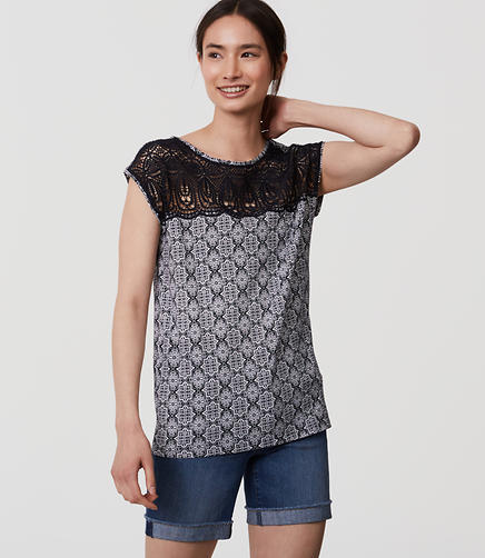 Image of Petite Tiled Mosaic Lace Yoke Tee