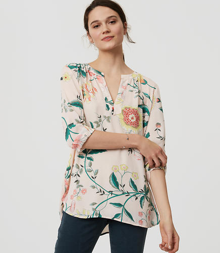 Image of Vine Split Neck Blouse