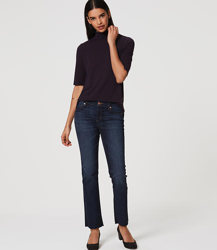 Image of Modern Frayed Straight Leg Jeans in Dark Stonewash