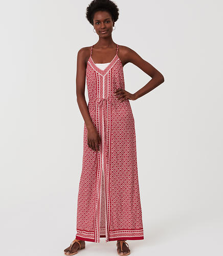 Image of LOFT Beach Floral Border Racerback Maxi Dress