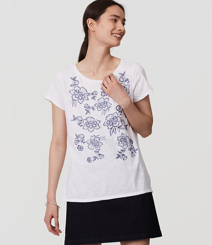Image of Petite Floral Embroidered Vintage Soft Tee