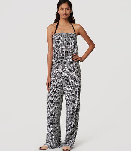 Image of LOFT Beach Floral Strapless Jumpsuit