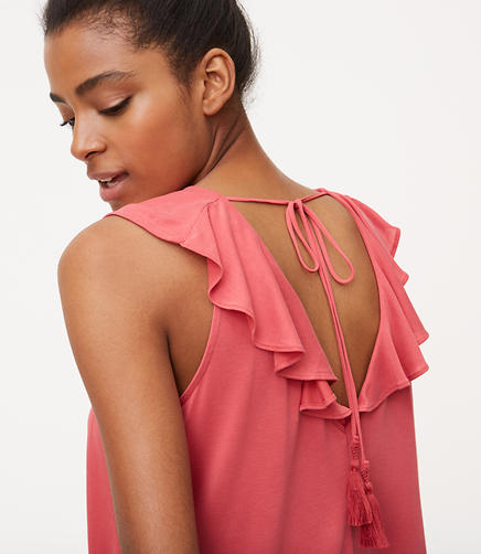 Image of Flutter Tassel Tie Back Top