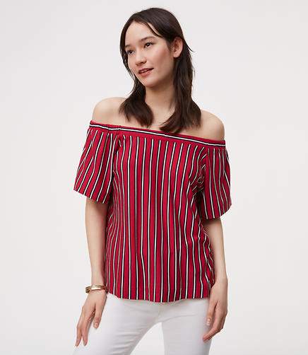 Image of Striped Tie Back Off The Shoulder Top