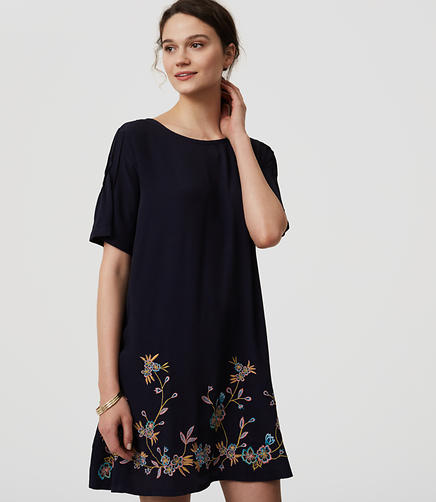 Image of Bird Embroidered Swing Dress