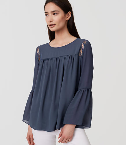Image of Cutout Bell Sleeve Blouse