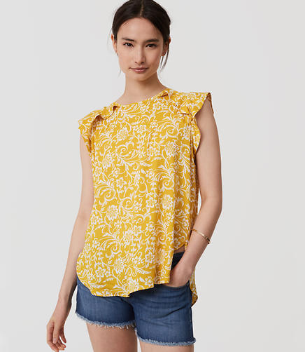 Image of Floral Ruffle Shoulder Shell
