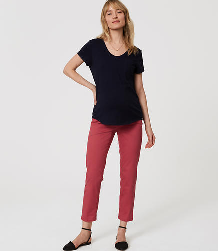 Image of Petite Maternity Cropped Skinny Chinos