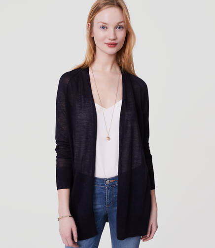Image of Petite Fine Knit Open Cardigan