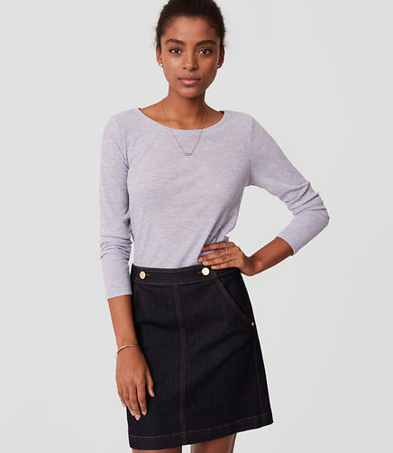 Image of Petite Denim Sailor Skirt