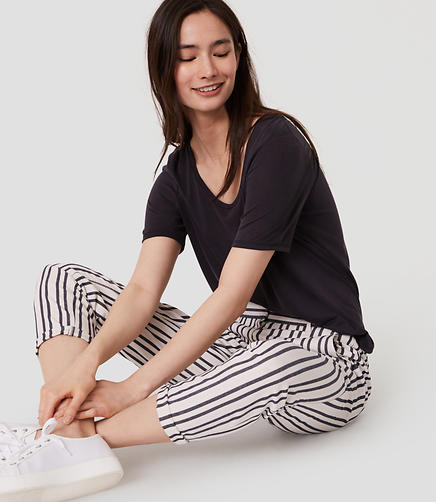 Petite Skinny Striped Cropped Chinos