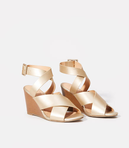 Image of Criss Cross Ankle Strap Wedge Sandals