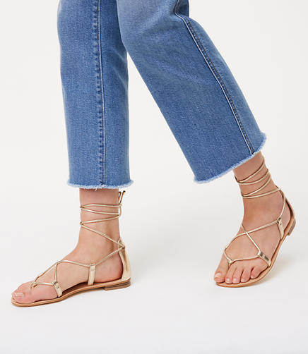 Image of Metallic Lace Up Sandals