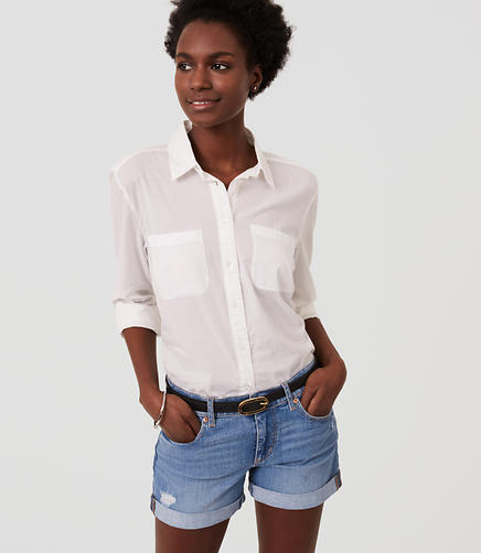 Image of Relaxed Skinny Denim Shorts in Original Light Wash