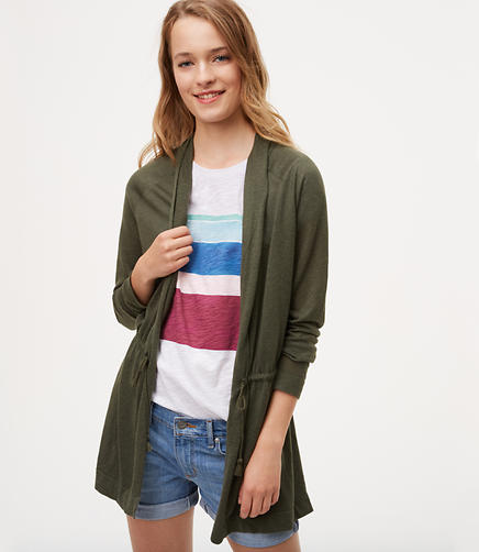 Image of Tasseled Drawstring Cardigan