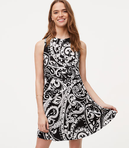 Image of Paisley Sleeveless Swing Dress