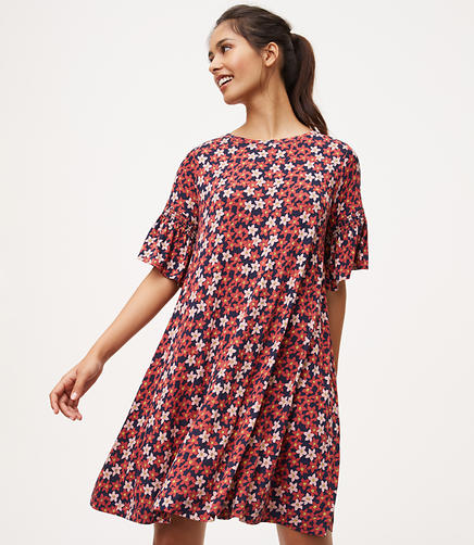 Image of Floral Bell Sleeve Swing Dress