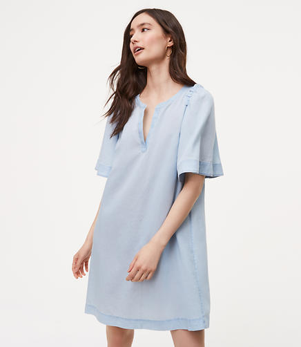 Image of Chambray Shoulder Ruffle Shift Dress