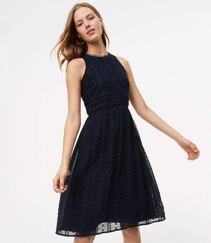 Image of Circle Lace Embroidered Flare Dress