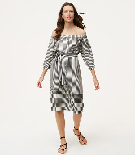 Image of Striped Off The Shoulder Shirtdress