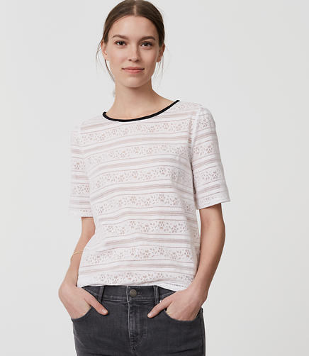 Image of Petite Striped Floral Lace Tee