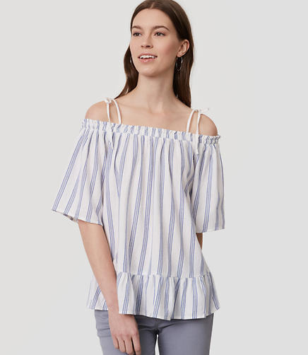 Image of Striped Ruffle Off The Shoulder Top