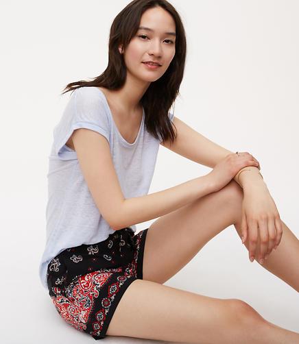 Image of Sunset Paisley Tie Waist Fluid Shorts