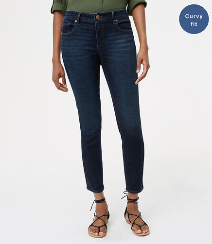 Curvy Skinny Ankle Jeans in Authentic Dark Wash