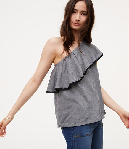 Image of Striped One Shoulder Top