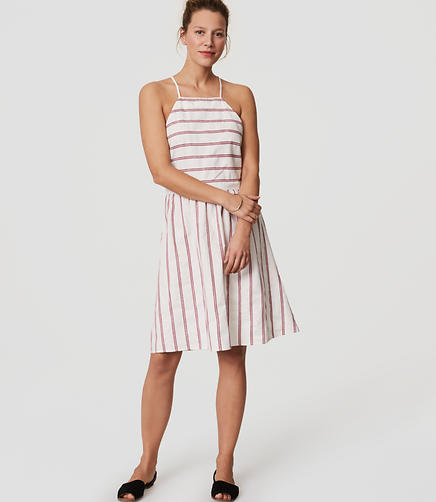 Image of LOFT Beach Striped Strappy Halter Dress
