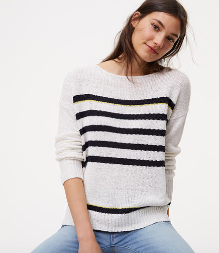 Image of Striped Drop Shoulder Sweater