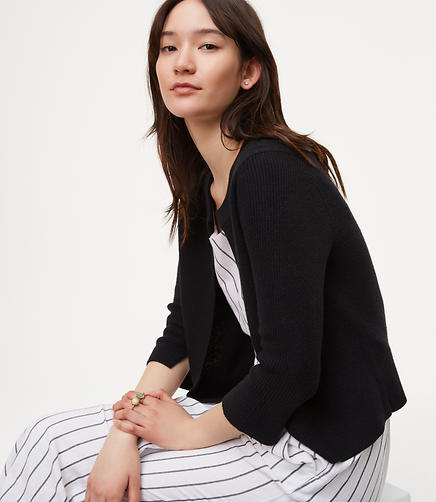 Image of Cropped Ribbed Cardigan