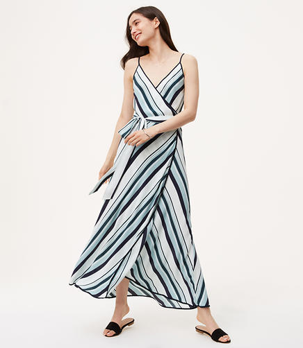 Image of Striped Wrap Maxi Dress