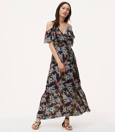 Image of Summer Floral Cold Shoulder Maxi Dress