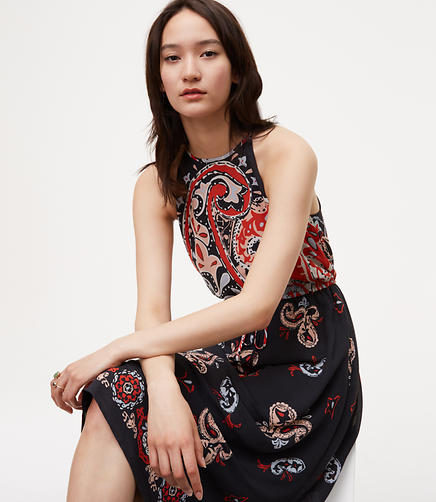 Image of Sunset Paisley Halter Dress