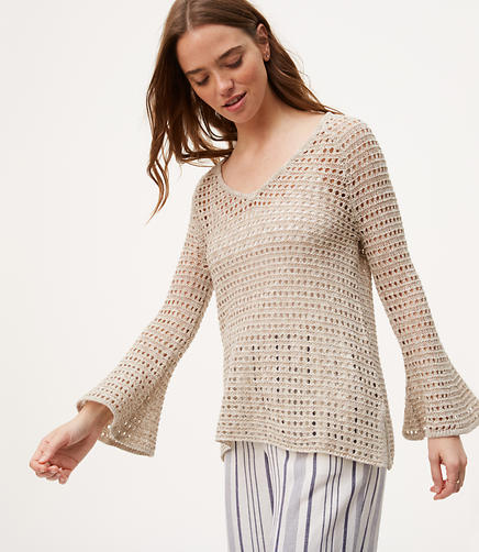 Image of Open Stitch Bell Sleeve Sweater