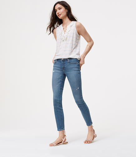 Image of Petite Modern Skinny Ankle Jeans in Destructed Light Stonewash