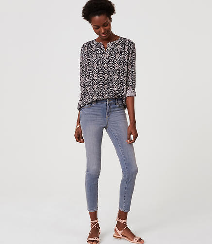 Image of Petite Crop Denim Leggings in Pure Light Indigo Wash