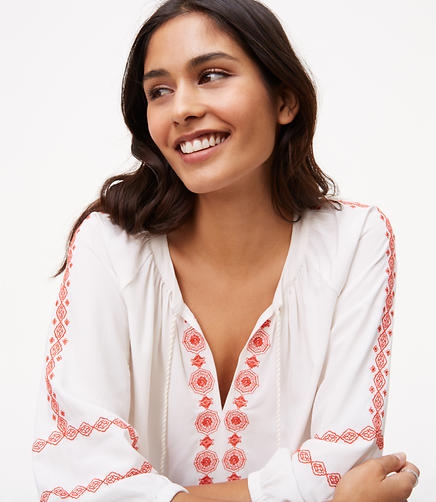 Image of Embroidered Tassel Tie Neck Blouse