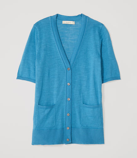 Image of Petite Textured Short Sleeve Cotton Cardigan
