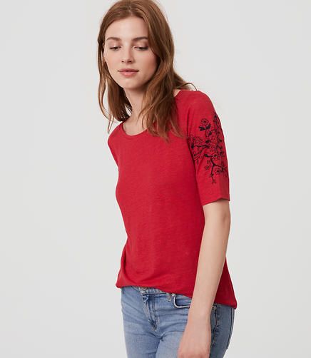 Image of Embroidered Linen Cap Sleeve Tee