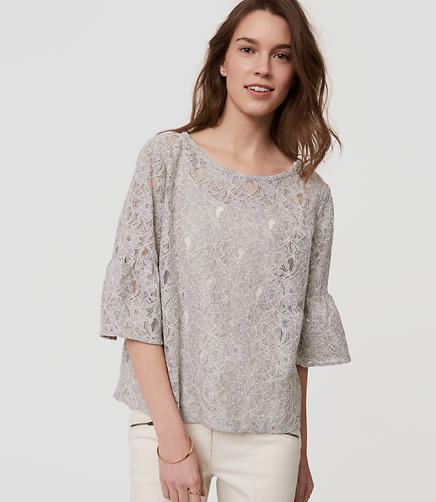 Image of Floral Lace Bell Sleeve Top