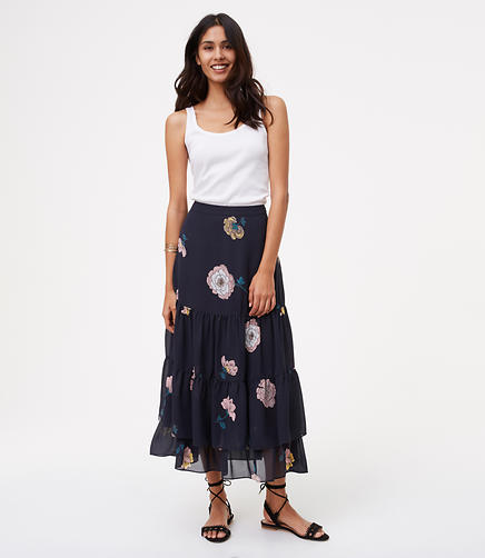 Image of Peony Tiered Maxi Skirt