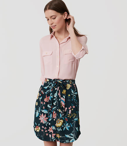 Image of Vine Tie Waist Button Skirt